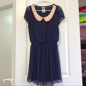 Blue dress with lace collar 💕👗💖